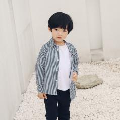 (需订货)Poniponchi2017新款秋冬男童开襟条纹衬衫#34