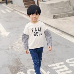 (需订货)Poniponchi2017新款男童拼袖印字母长袖T恤#37