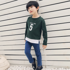 (需订货)Poniponchi2017新款男童假两件套印数字长袖T恤#43