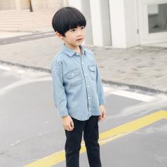 (需订货)Poniponchi2017男童柔软有型牛仔开襟衬衫#47