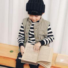 PONIPONCHI 条纹毛衣搭配时尚保暖马甲毛衣