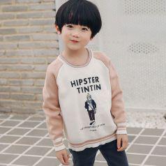 PONIPONCHI 圆领时尚拼袖毛衣 JI003#
