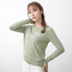 2017春季上新繁复时髦毛衣圆领女温馨百搭 M-6019
