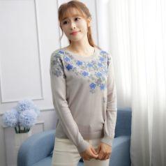 2017春季上新繁复时髦毛衣圆领女温馨百搭 M-6013