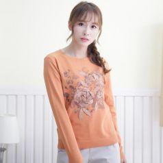 2017春季上新繁复时髦毛衣圆领女温馨百搭 M-6030