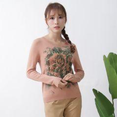 2017春季上新繁复时髦毛衣圆领女温馨百搭 M-6057