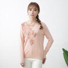2017春季上新繁复时髦毛衣圆领女温馨百搭 M-6101