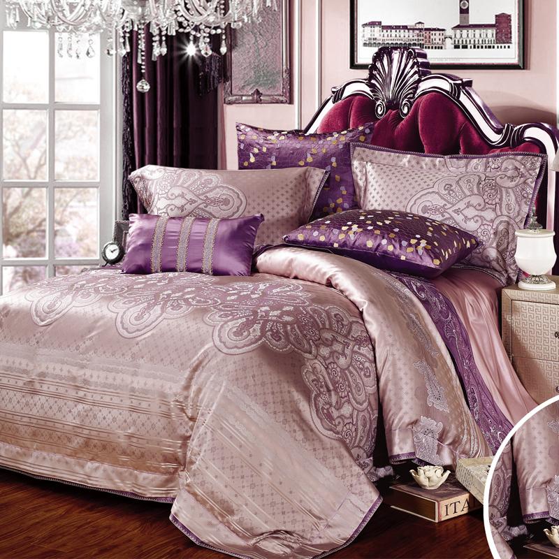 克羅斯蒂-真絲色織提花床單六件套