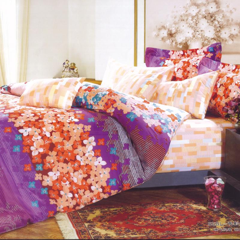 花影如夢(紫)-多用被蓋(床笠)四件套
