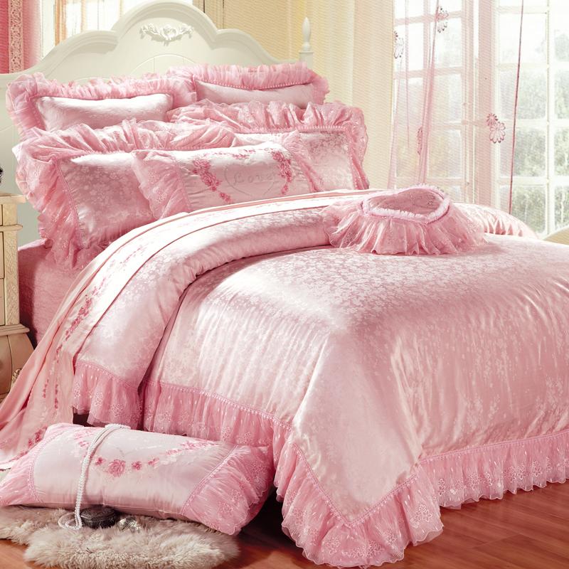 情歸米蘭(粉色)-仿絲棉提花床蓋六件套