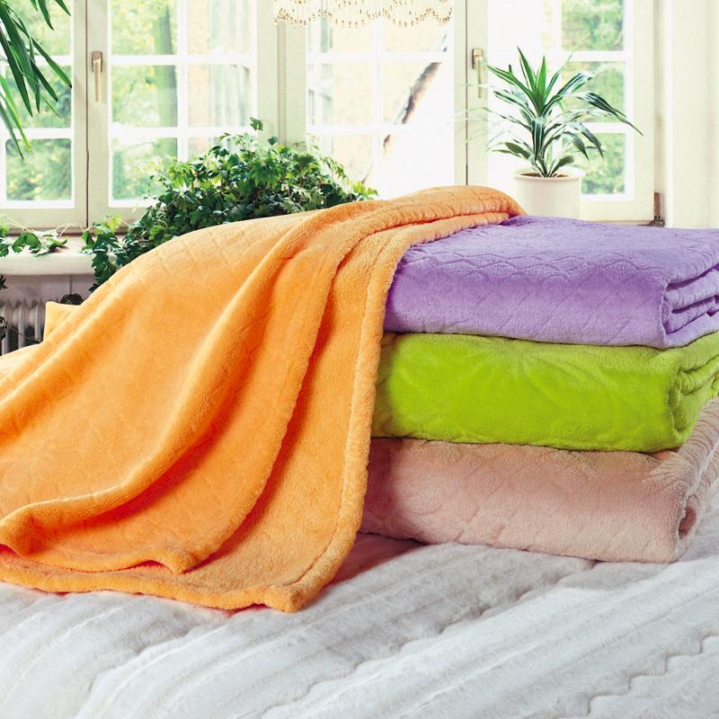 淡雅剪花絨毛毯-桔黃色