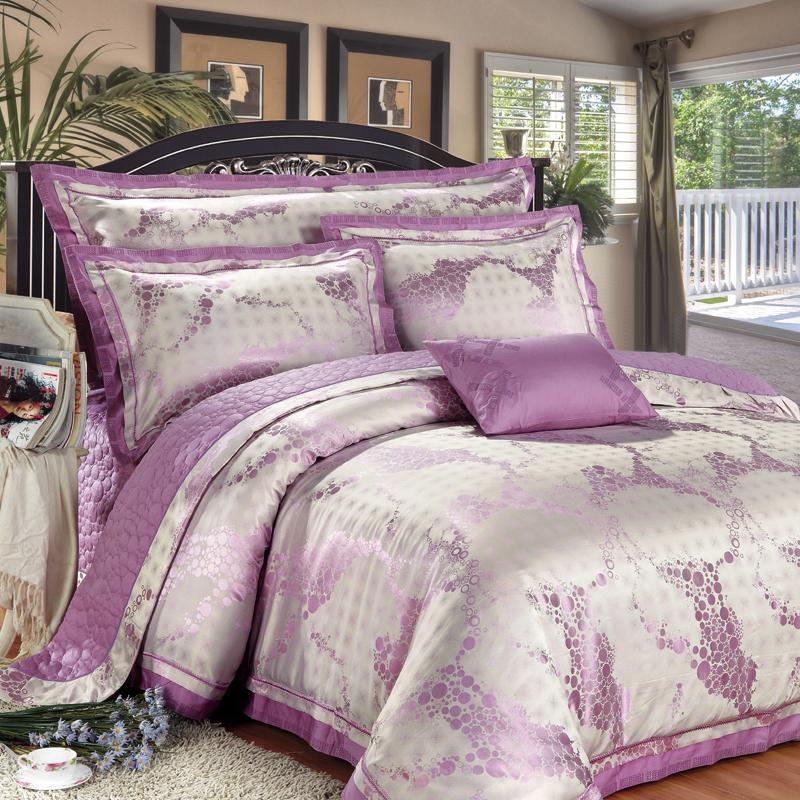 紫色迷情-提花床蓋六件套