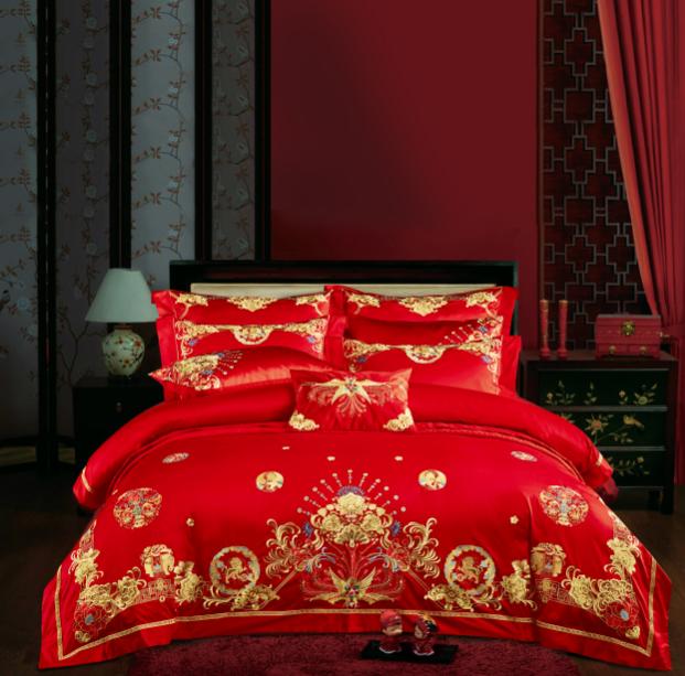 百支錦棉素繡床蓋八件套-古彩風韻