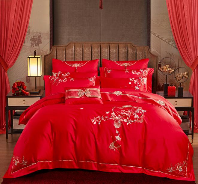 絲棉提花床蓋五件套-花好月圓